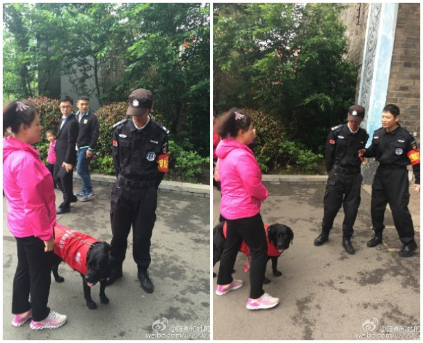 Chen is denied access to a public park in Nanjing for having her service dog with her.
