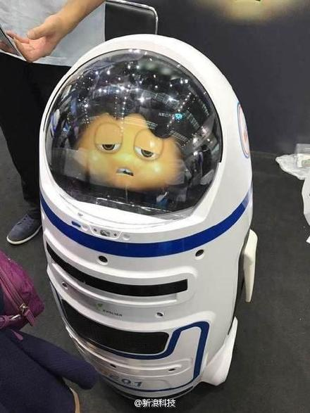 The Little Chubby robot did not look too happy after its violent outburst (picture via Sina News).