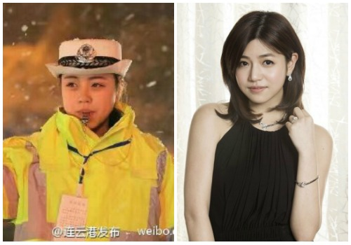 The traffic police woman and Taiwanese actress/singer Michelle Chen.