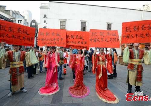 dressed in traditional chinese clothing hanfu protested by holding red placards reading boycott christmas dont celebrate foreign festivals - Do They Celebrate Christmas In China