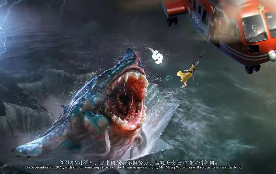 Graphic of Meng Wanzhou escaping jaws of 'American shark' triggers billions of Weibo views